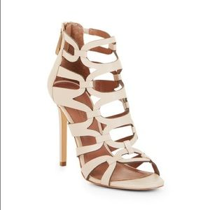 BCBG Vicenza Caged Leather Open Toe Sandals 8.5